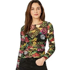NWT Guess Floral Ruched Top